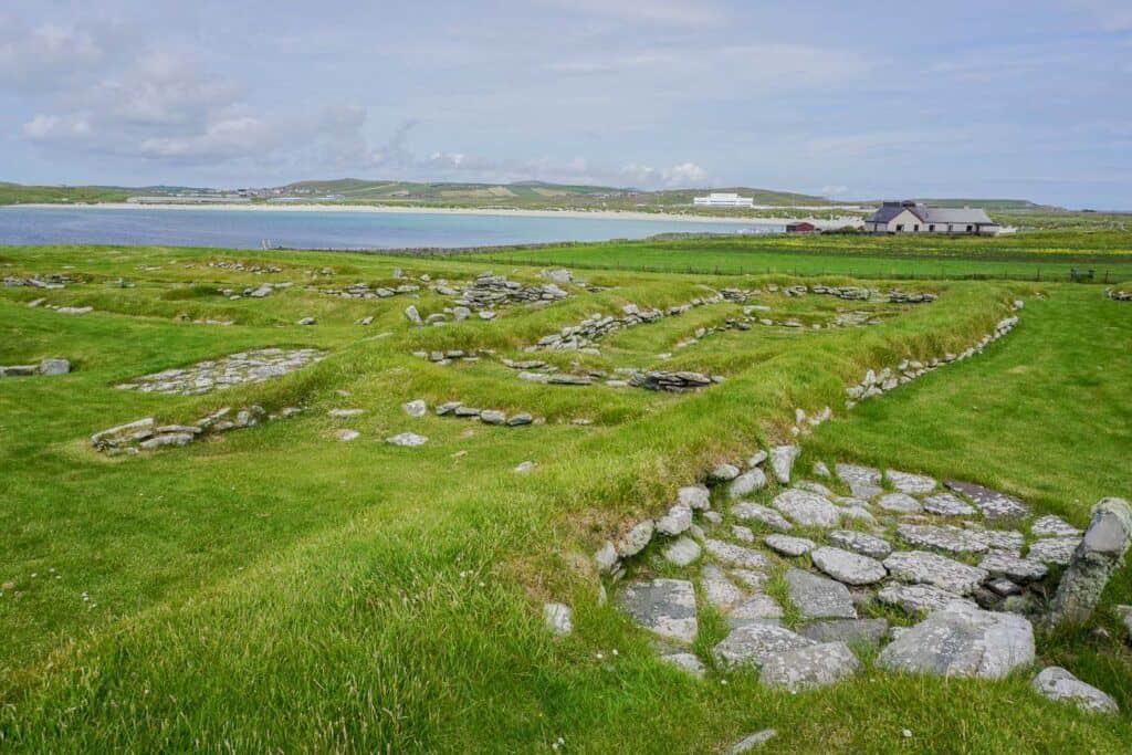 Viking Longhouse Ruins: Jarlshof Historical Site Shetland Scotland