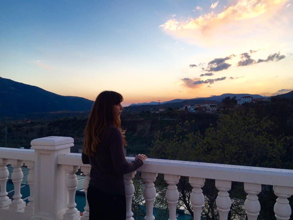 Hostel Balcony at sunset