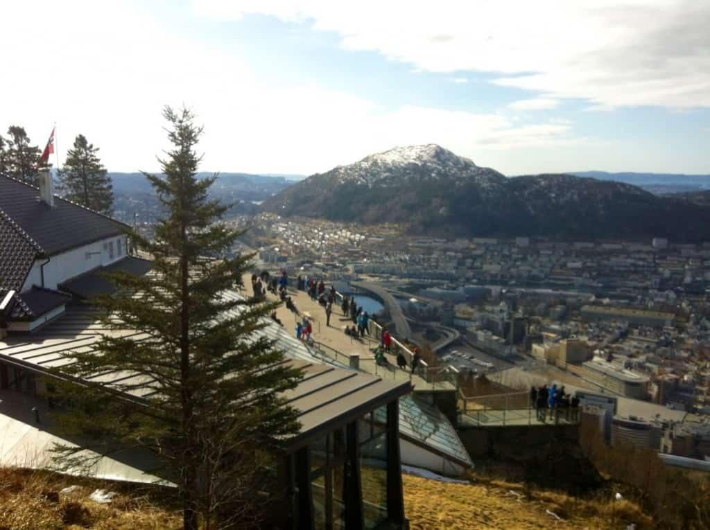 Mount Floyen Bergen Norway at easter in march