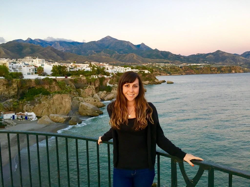 On balcony overlooking ocean and mountain in Nerja, Spain in winter