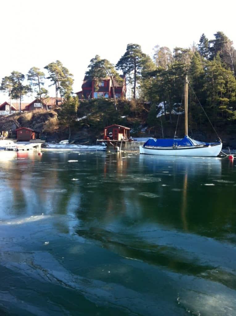 boats near islands in oslo fjord in norway in march