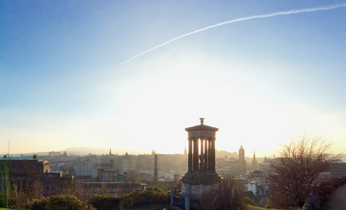 Sunset over Edinburgh from Calton Hill