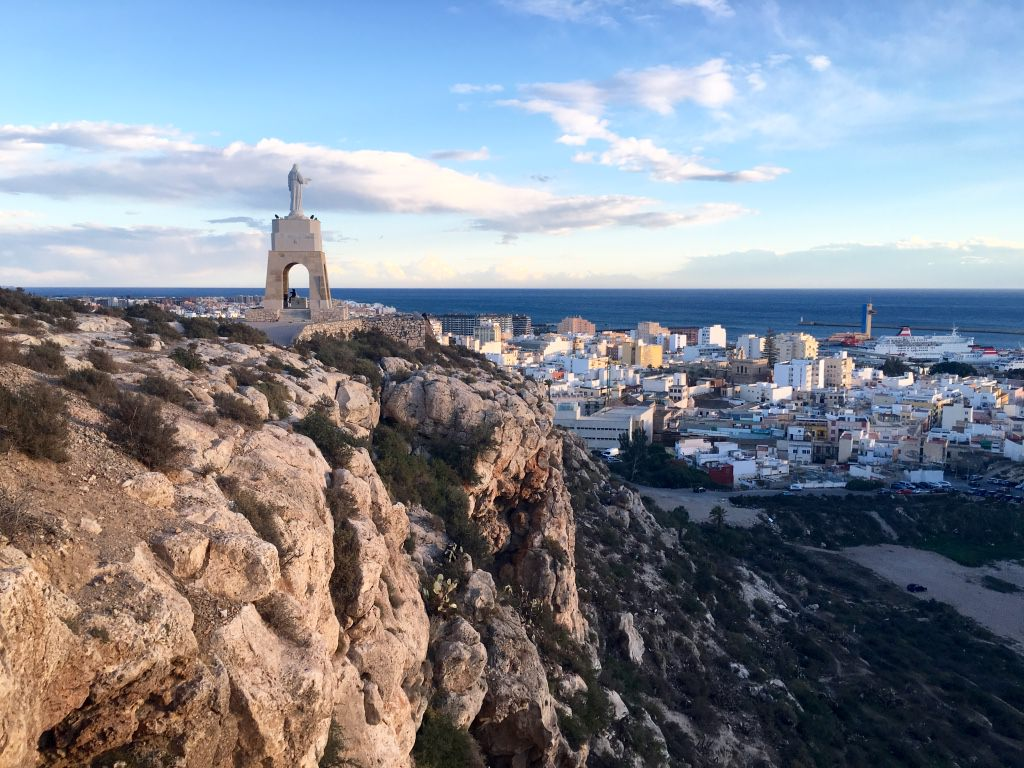 View of Almeria city in southern Spain from San Cristobel