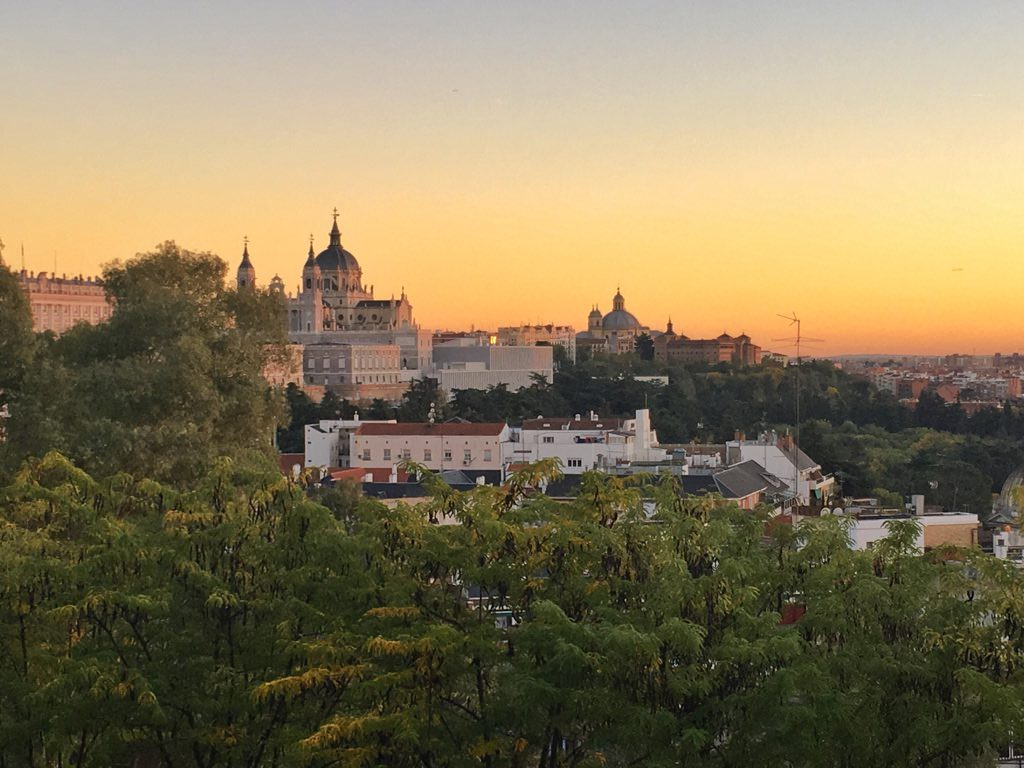 View from Temple of Debod Madrid Spain Sunset