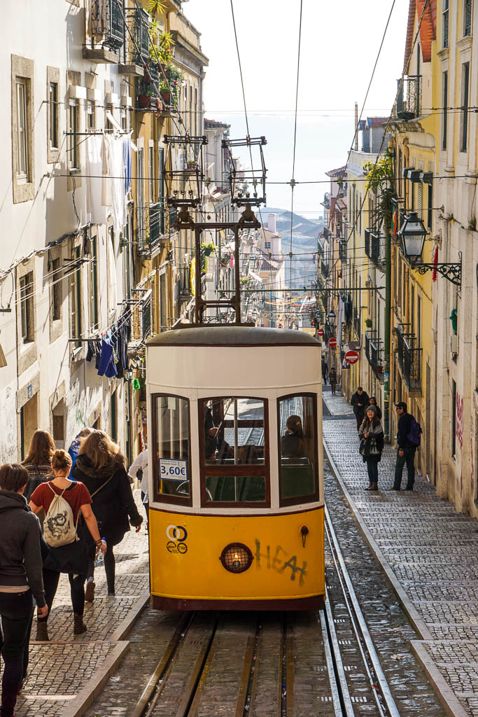 Tram in Lisbon on steep street