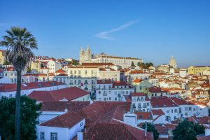 Views of rooftop in Lisbon in Europe in Spring