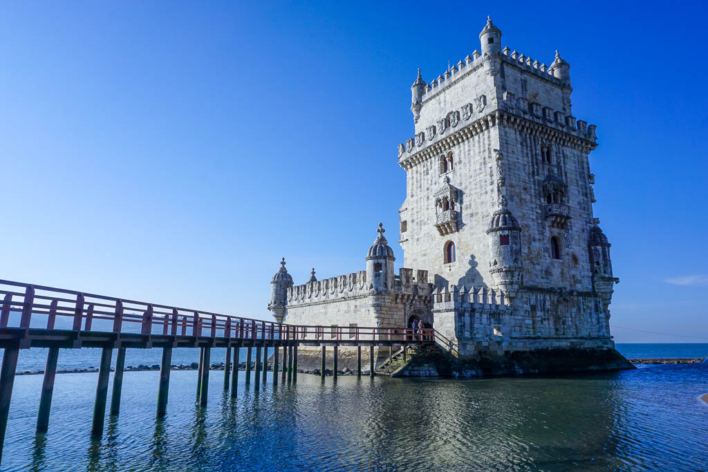 Lisbon Itinerary - 2 Days in Lisbon - Belem Tower in the sea with bridge