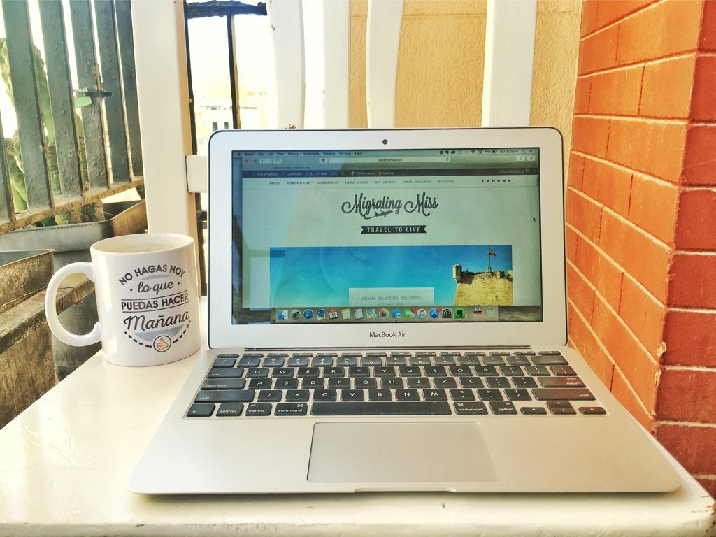 Working from home tips - Laptop and coffee outside