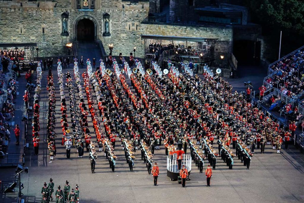 Edinburgh Festivals August - Edinburgh Tattoo bands in front of Edinburgh Castle