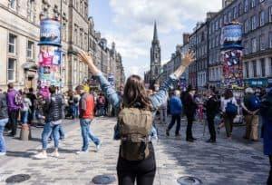 Edinburgh Festivals August - Standing on the Royal Mile