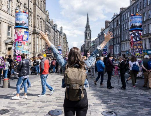 Edinburgh Festivals August - Standing on the Royal Mile