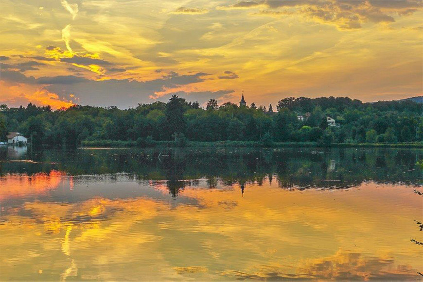 Moving to France: Sunset on the Lake next to the Canal l'Est