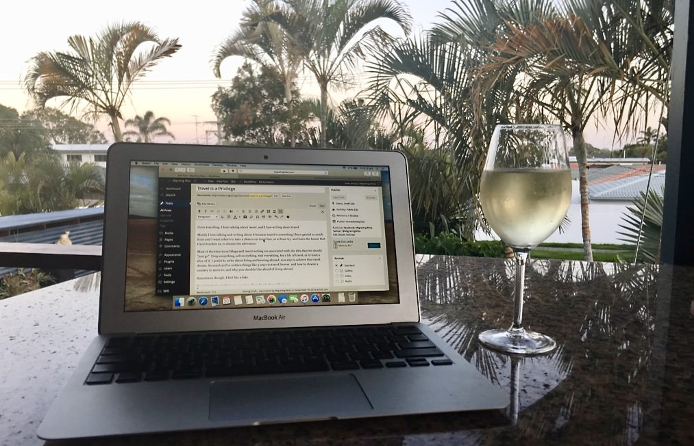 Working from home with wine