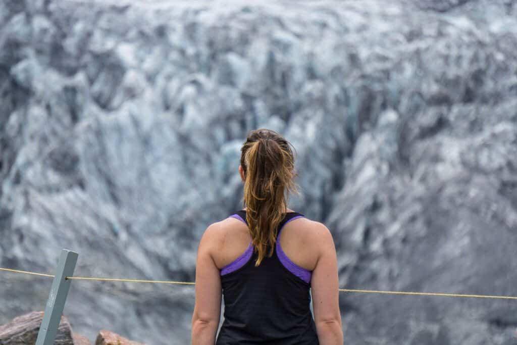 Looking at Fox Glacier, South Island New Zealand