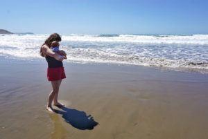 Akitio Beach with baby