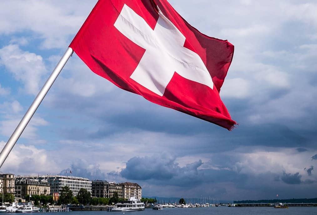 Swiss Flag at Geneva Lake