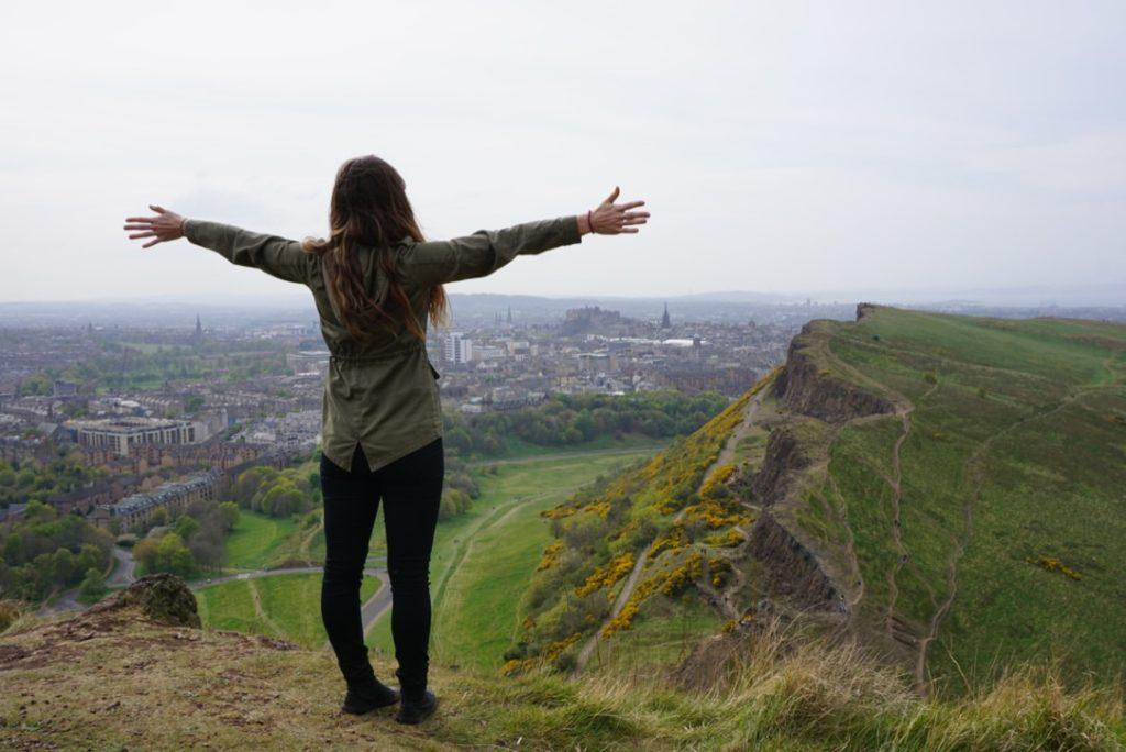 Standing on Arthur's Seat Edinburgh