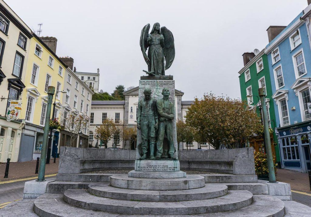Babymoon Destinations Europe-Cobh - Colorful buildings with statue in Cobh.