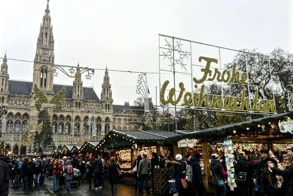 Babymoon Destinations Europe-Vienna -Christmas Market stalls in wet weather