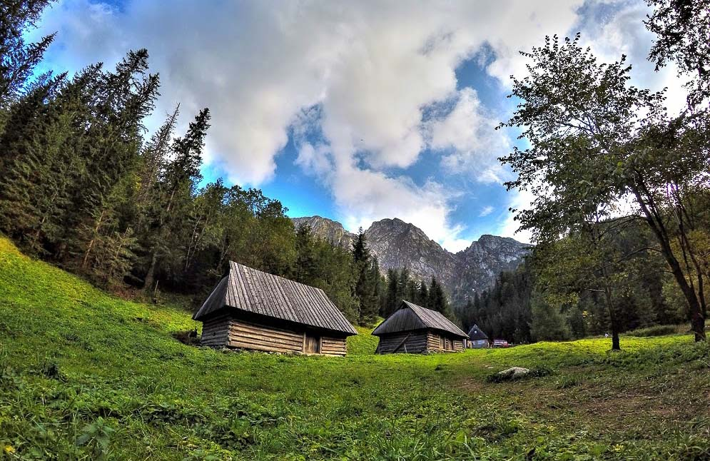 Babymoon Destinations Europe-Zakopane - Wooden huts in meadow surrounded by trees and mountains
