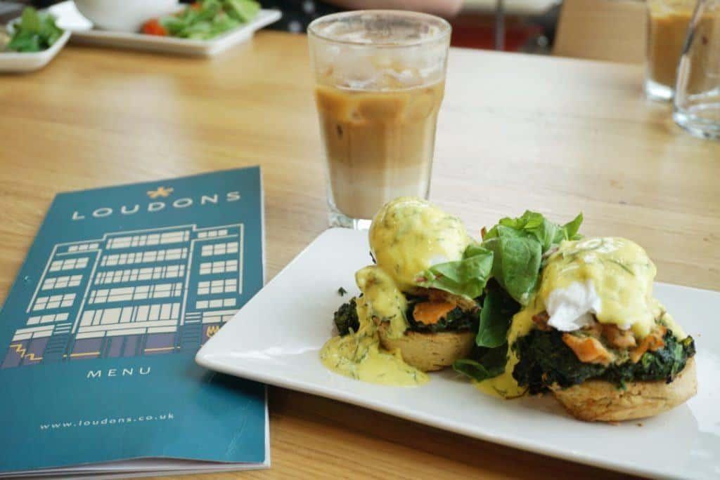 Food at Loudons Edinburgh: Iced Coffee, Eggs benedict, Loudons Menu