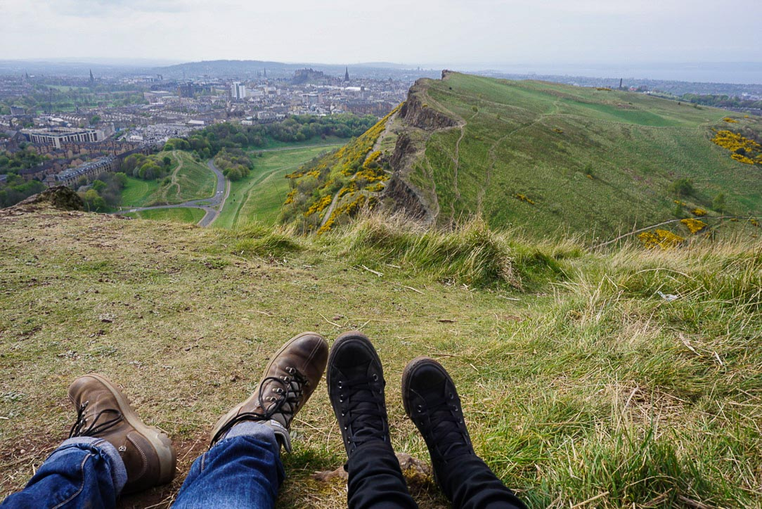 Couples shoes and view of Salisbury Cargs and Edinburgh city from above