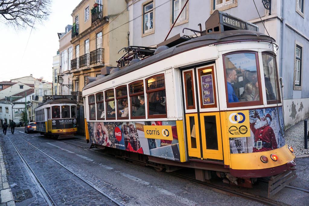 Lisbon Itinerary: Yellow tram in Lisbon