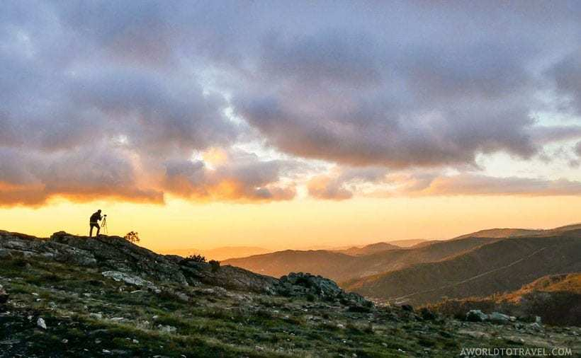 Sunset over mountains beautiful places in Portugal
