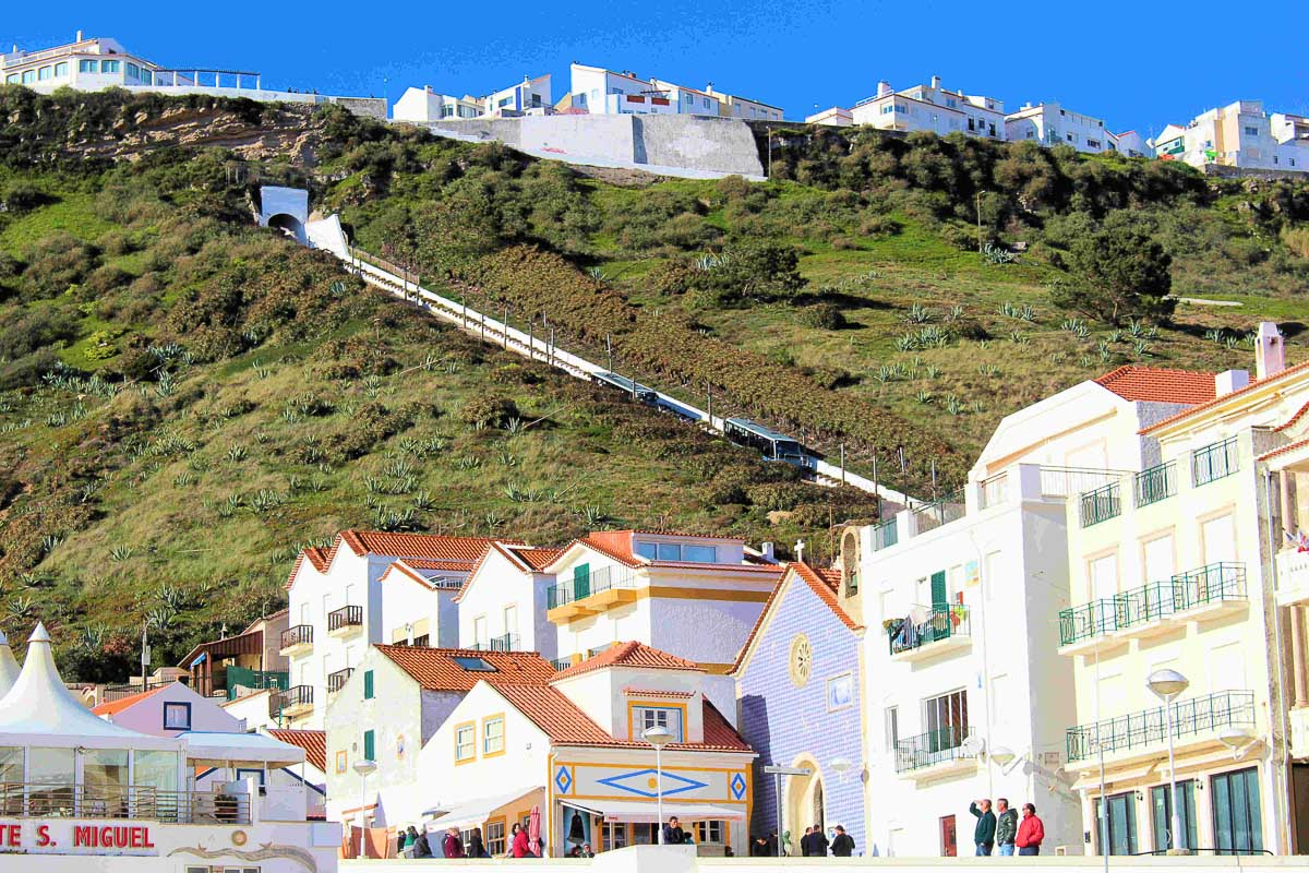 Town with funicular going up hill