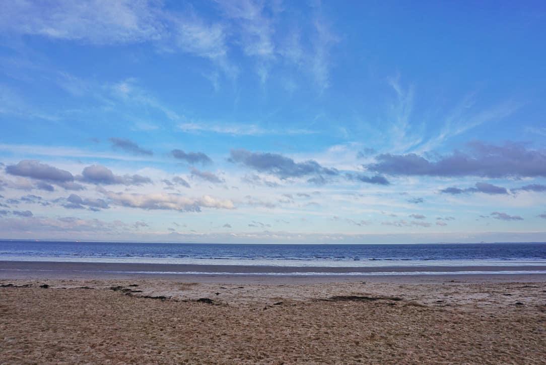 Beach, sea and blue sky at Portobello Edinburgh