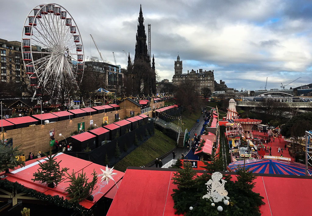 Edinburgh in winter - View of Christmas Market