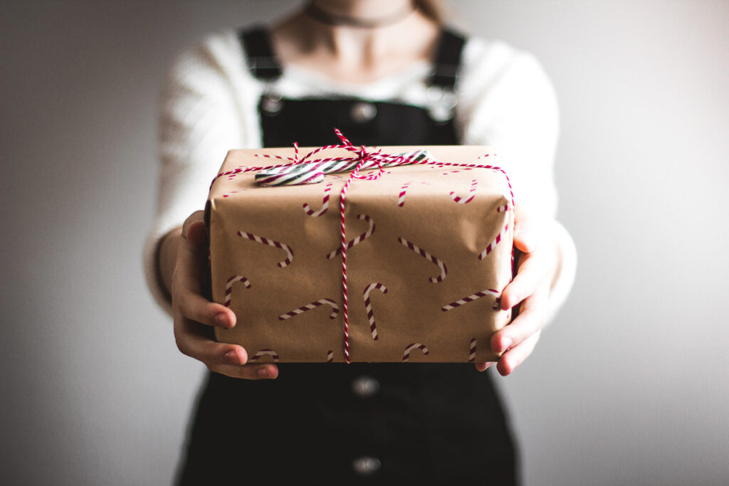 Best Gifts for Bloggers - Candy cane wrapped gift box