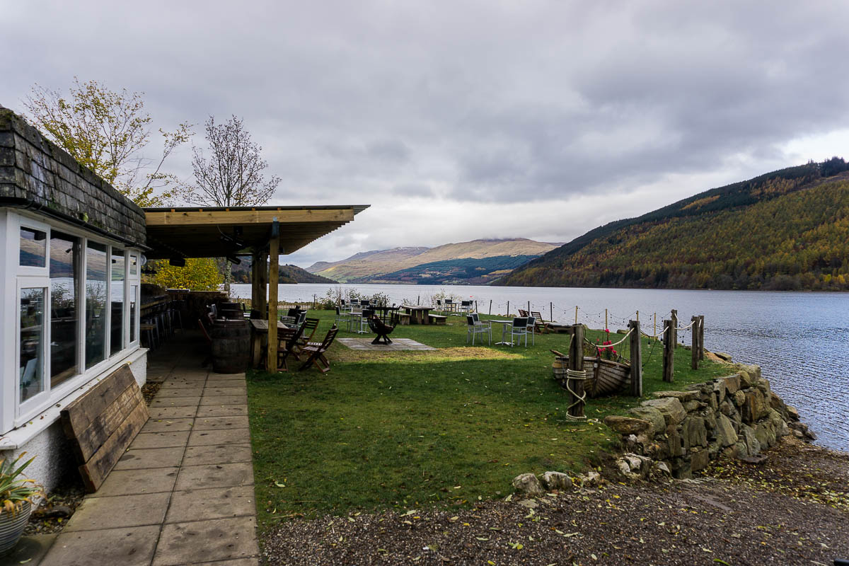 Cafe and grass bar area overlooking Loch Tay at Taymouth Marina