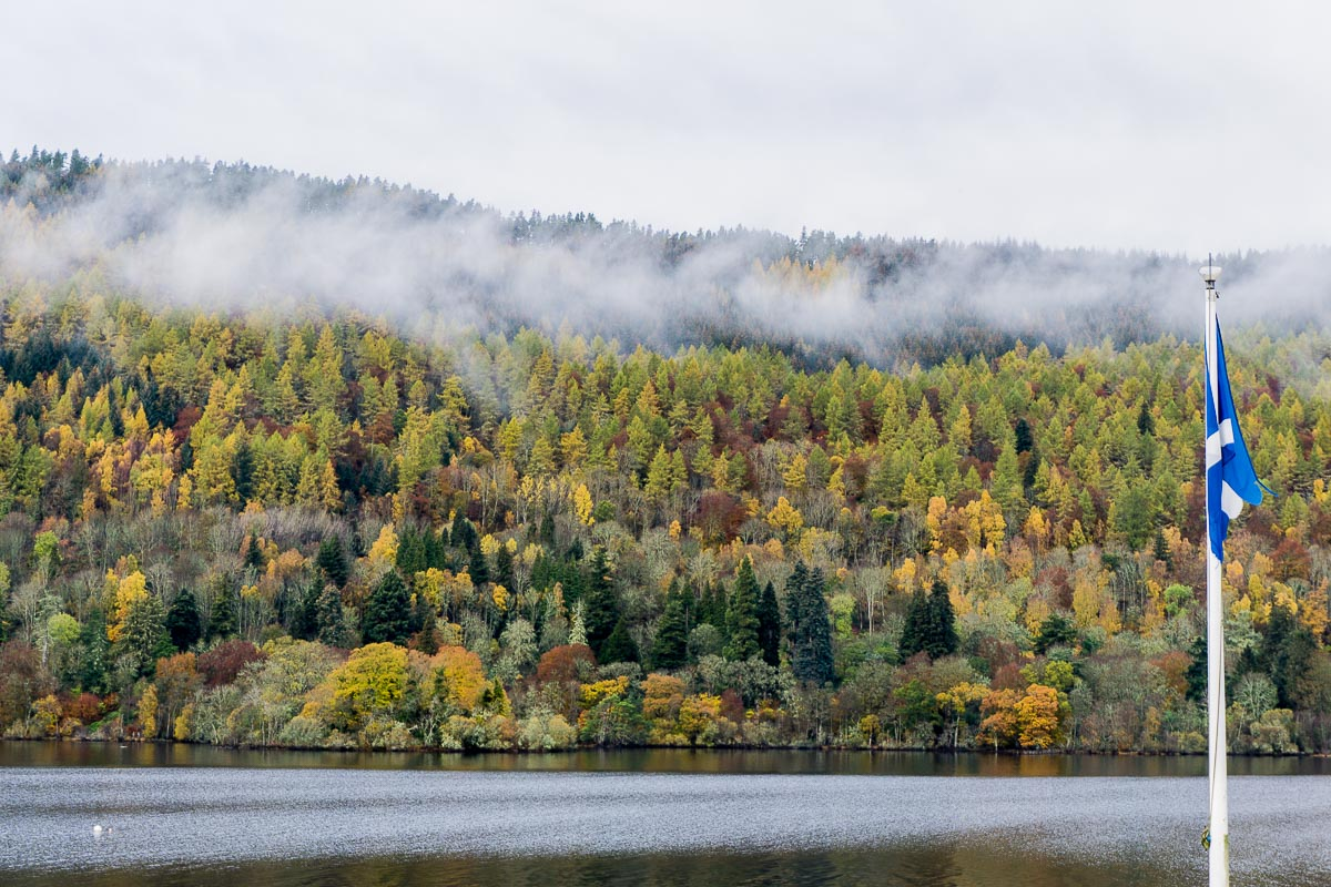 Loch Tay - Mist over autumn tree coloured hills and loch