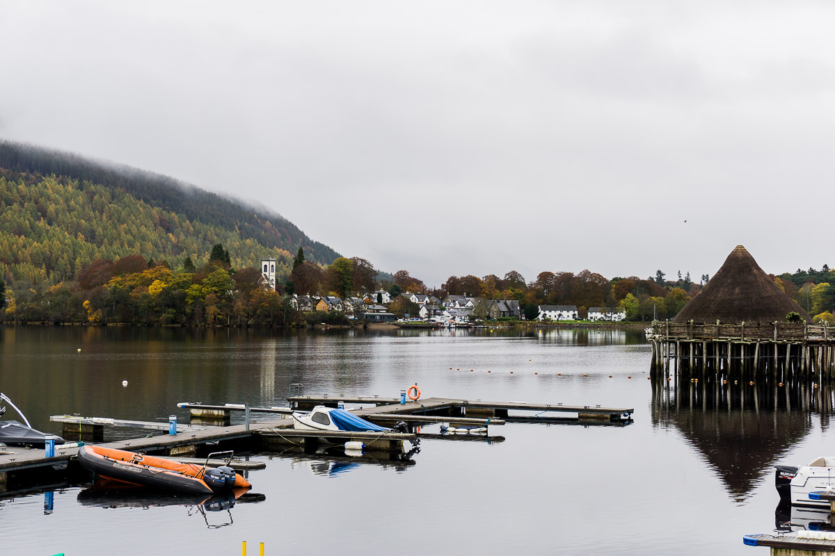 View from Taymouth Marina, Scottish Crannog Centre and Kenmore