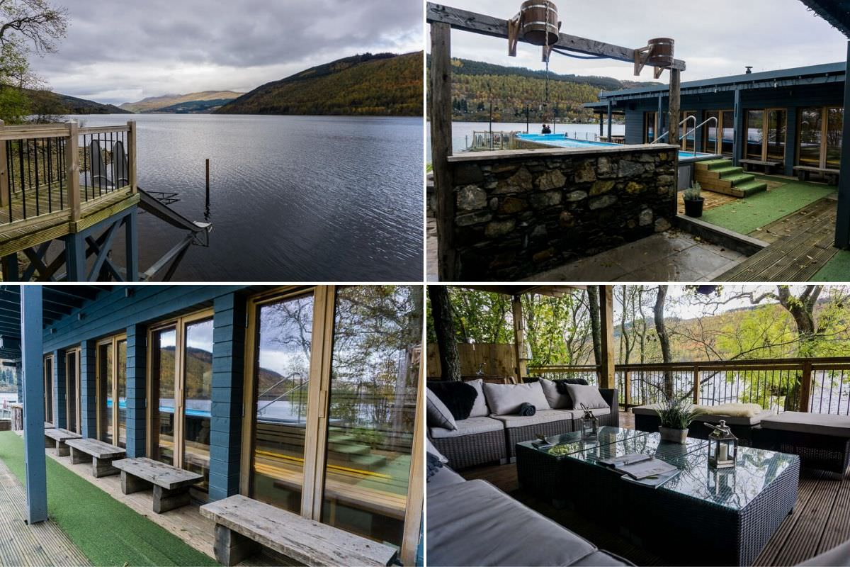 Taymouth Marina Hot Box area with sauna, slide into loch, loungers and hot tub