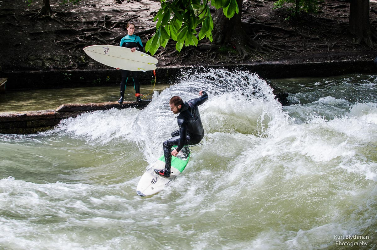 Surfer in the river at Munich in Spring