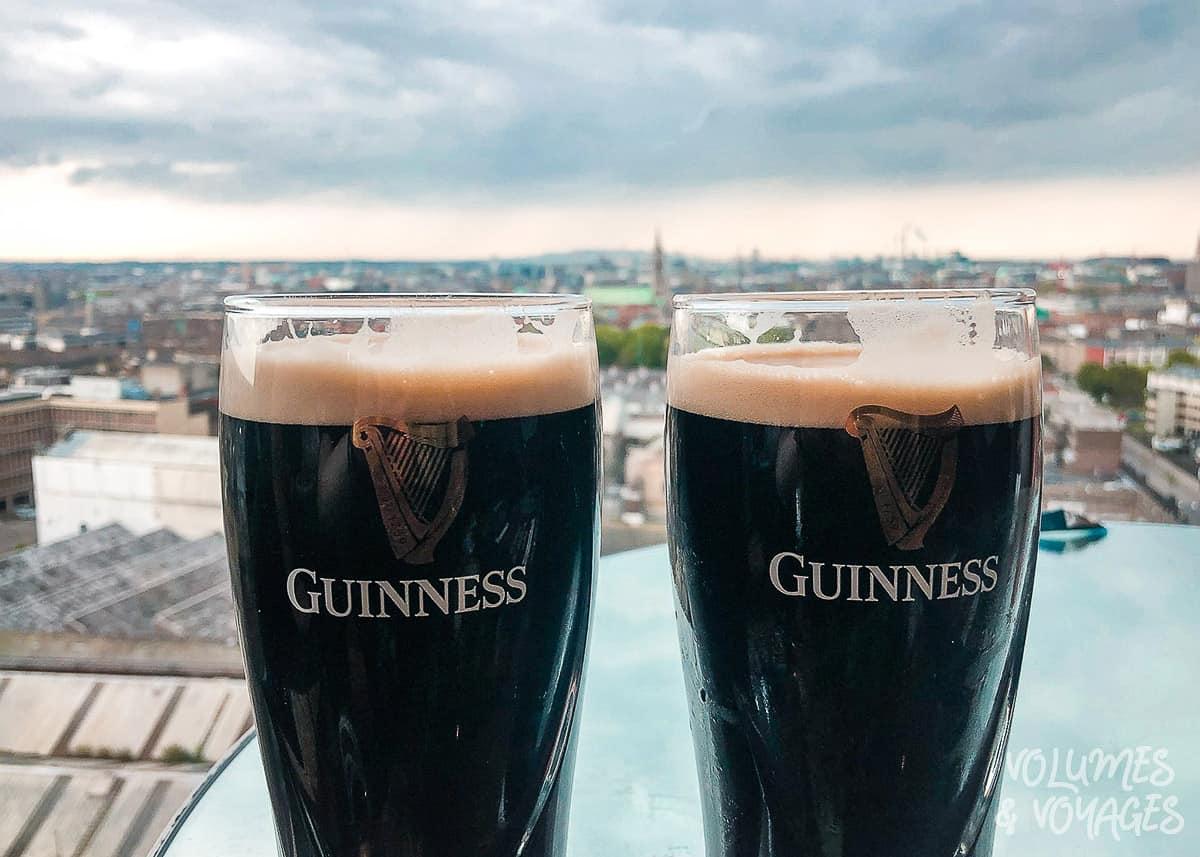 Pints of Guinness overlooking Dublin