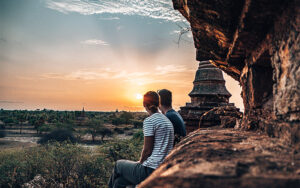 Couples Long Term Travel - Couple on temple at Sunrise in Bagan