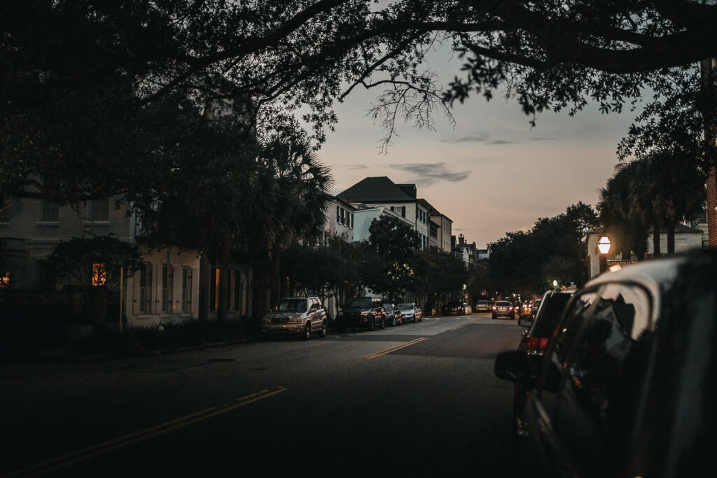 Romantic Places in the USA - Charleston Street at dusk