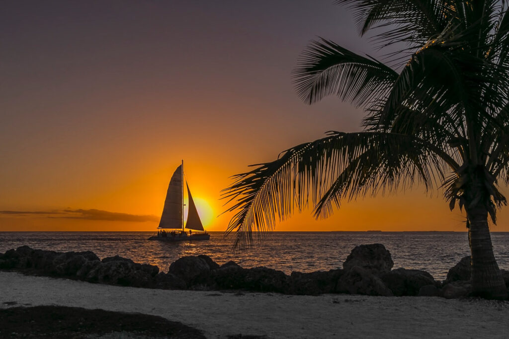 Romantic Places in the USA - Sunset and boat at Key West