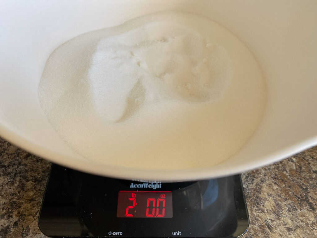 Sugar measured out for homemade tablet recipe