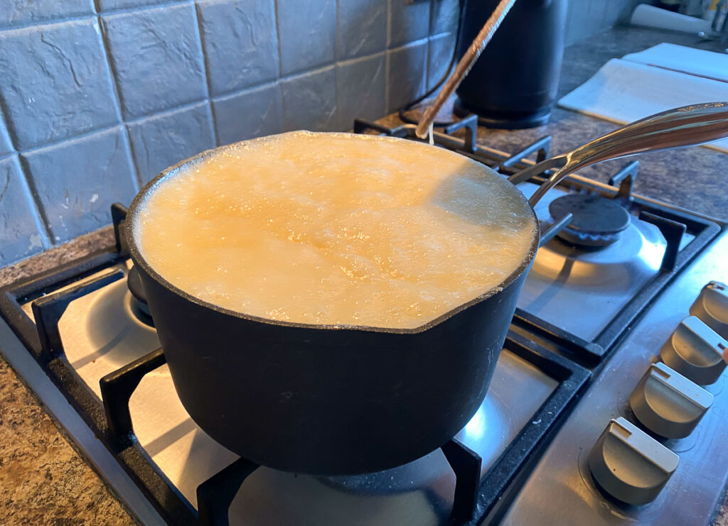 scottish tablet recipe in pan on the stove
