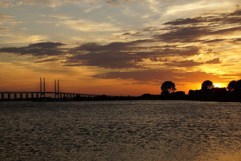 Sunset on the water in Malmo Sweden
