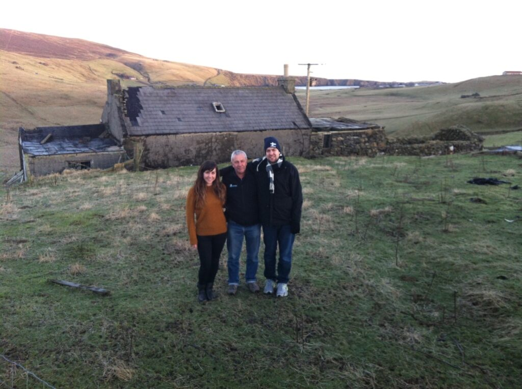Outside ancestral family home in Shetland