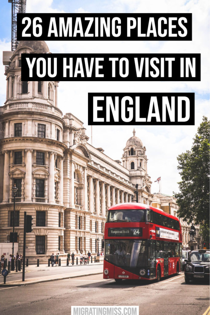 Places to visit in England - London red bus and street