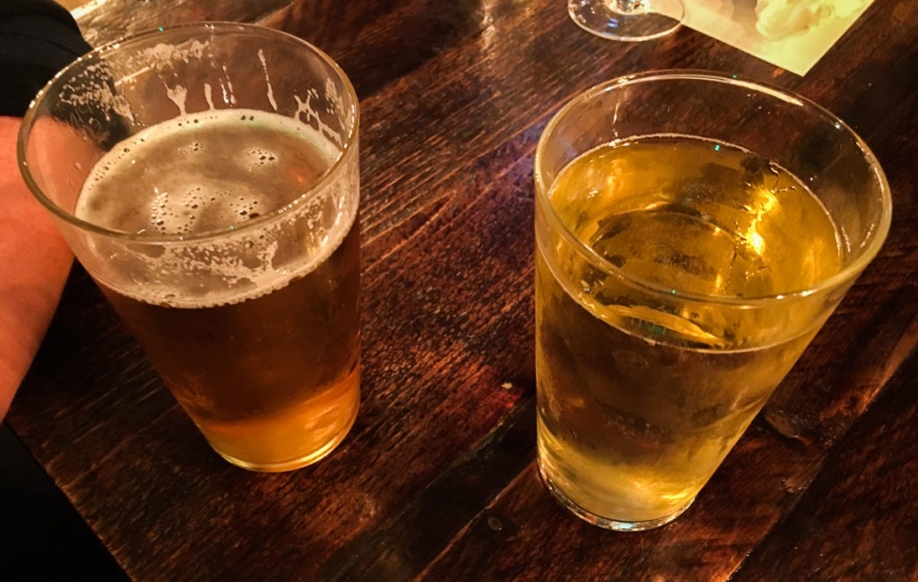 Two Pints of Beer at a pub in London