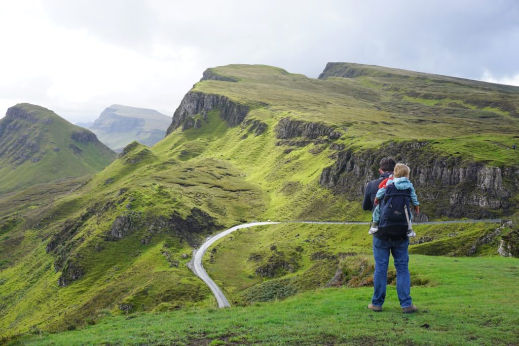 Baby and Dad at The Quiraing Isle of Skye Scotland