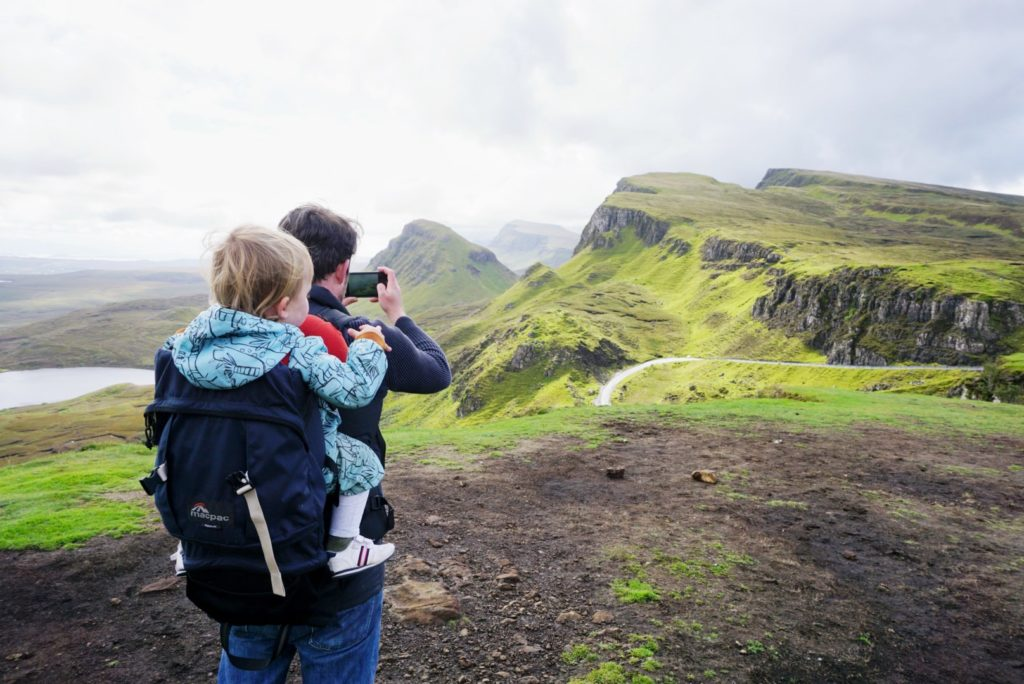 Man and toddler on the Isle of Skye