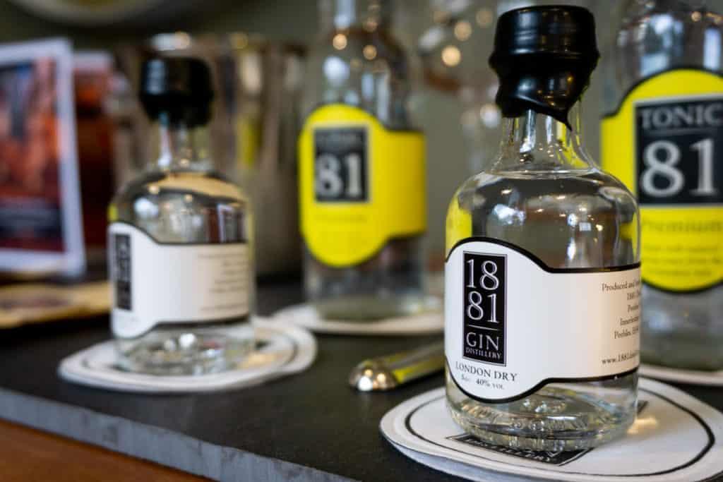 Bottles of 1881 Gin from Peebles Hydro Scottish Borders